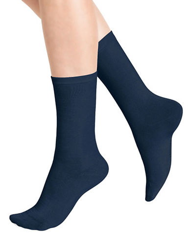 Bleu Foret Two-Pack Solid Ankle Socks-BLUE-9-10