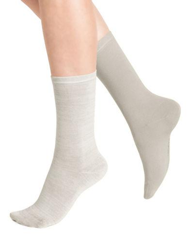 Bleu Foret Two-Pack Solid Ankle Socks-BEIGE-9-10