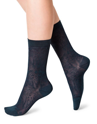 Bleu Foret Mid-Calf Lace Socks-BLUE-Small