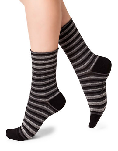 Bleu Foret Mid-Calf Printed Socks-GREY-Small