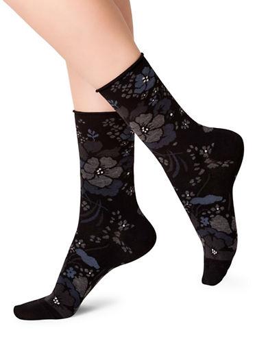 Bleu Foret Mid-Calf Printed Socks-GREY-Medium