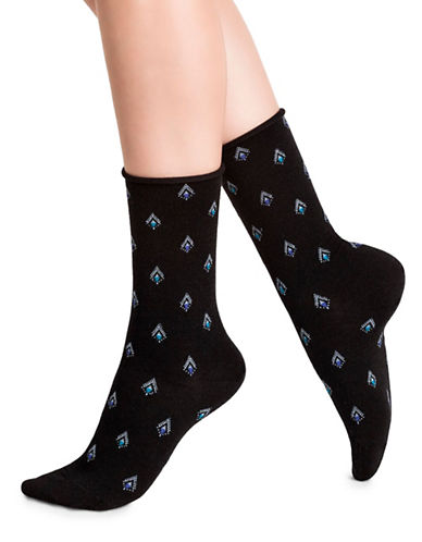 Bleu Foret Pendant Crew Socks-BLACK-Medium