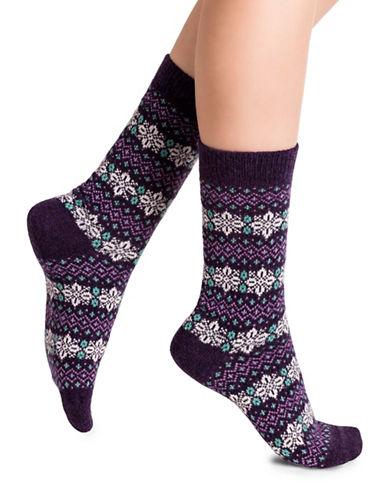 Bleu Foret Snowflake Crew Socks-PURPLE-Small