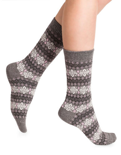 Bleu Foret Snowflake Crew Socks-GREY-Small