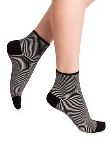 Bleu Foret Striped Ankle Socks-BLACK-Small