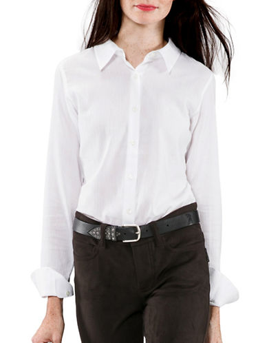 Agnès B. Long Sleeve Cotton Shirt-WHITE-8
