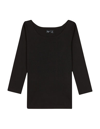 Agnès B. Three-Quarter Sleeve Cotton Jersey T-Shirt-BLACK-3