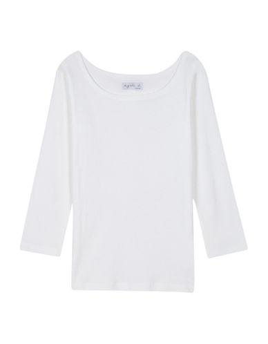Agnès B. Three-Quarter Sleeve Cotton Jersey T-Shirt-WHITE-3