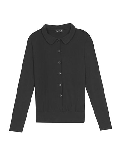 Agnès B. Claire Collared Cardigan-BLACK-3