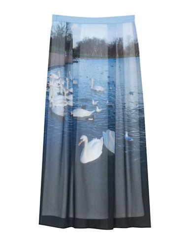 Agnès B. Swan Lake Midi Skirt-BLUE MULTI-6