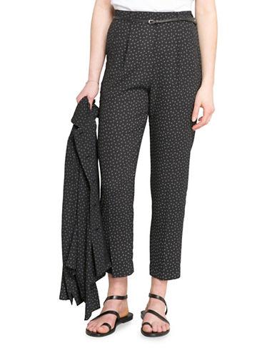 Agnès B. Geometric-Print Crepe Trousers-BLACK-10