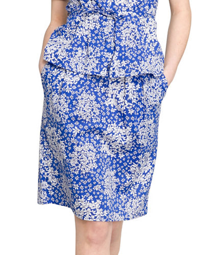 Agnès B. Cotton Poplin Sheath Skirt-BLUE-8