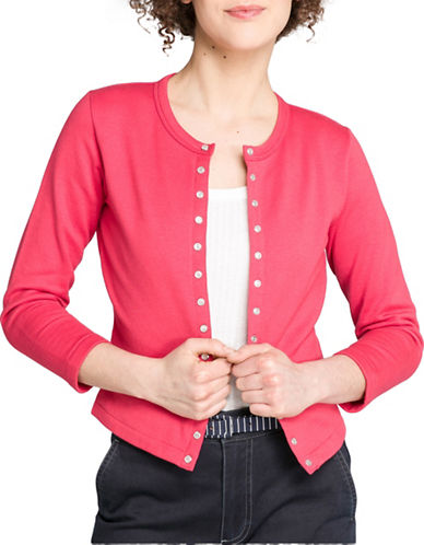 Agnès B. Mother-of-Pearl Snap Cardigan-RED-1