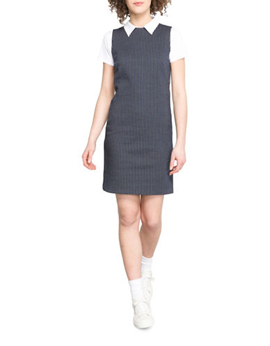 Agnès B. Striped Jersey Shirt Dress-BLUE-3