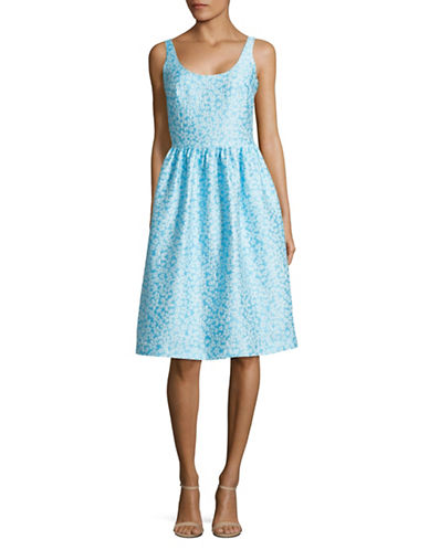 Agnès B. Floral Scoop Neck Fit-and-Flare Dress-BLUE-10