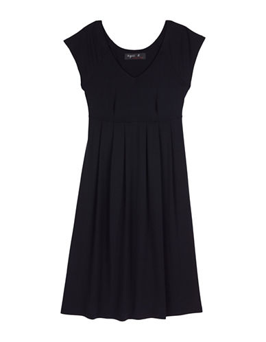 Image of Agnès B. Aliso Fit-and Flare Dress-BLACK-1