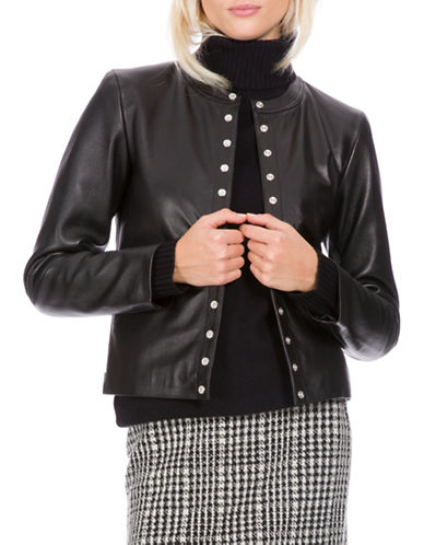 Agnès B. Faux Pearl Snap Leather Jacket-BLACK-14