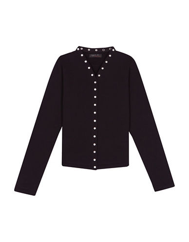 Agnès B. Snap Trim Cardigan-BLACK-2