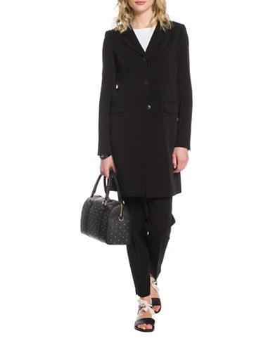 Agnès B. Notched Lapel Coat-BLACK-4