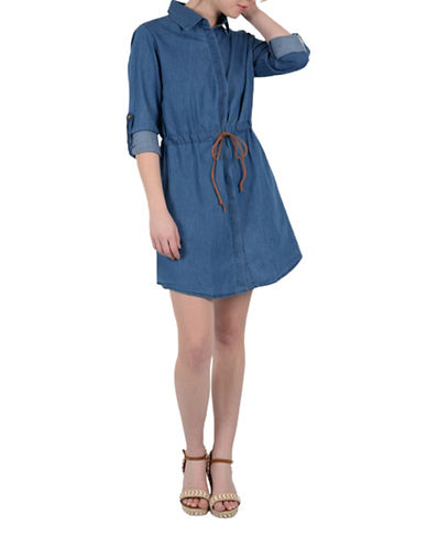 Molly Bracken Johanna Denim Shirt Dress-DENIM-Small/Medium