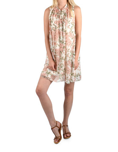 Molly Bracken Rose Print Shift Dress-OFF WHITE MULTI-One Size