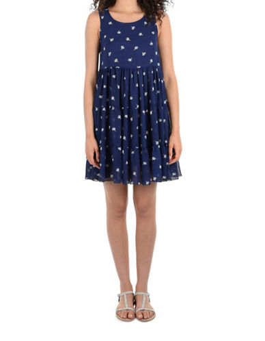 Molly Bracken Ditsy Print Tiered Dress-NAVY-Medium/Large