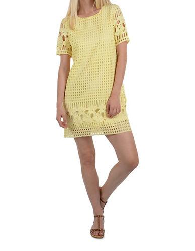 Molly Bracken Crochet Lace Shift Dress-YELLOW-Small