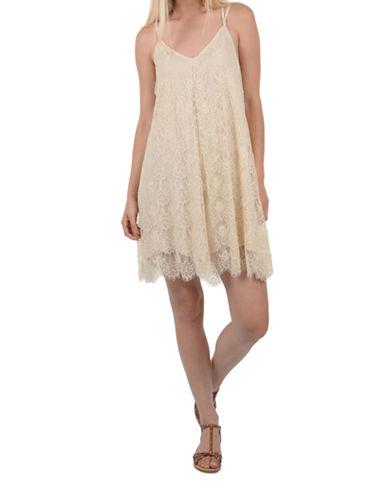 Molly Bracken Lace Shift Dress-IVORY-Small