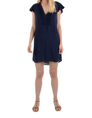 Molly Bracken Lily Flutter Sleeve Dress-NAVY-Small