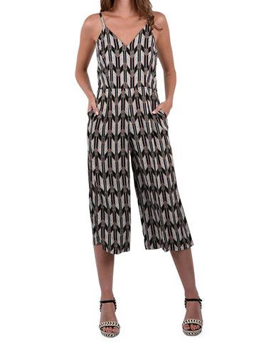 Molly Bracken Geo Printed Jumpsuit-BLACK-Medium