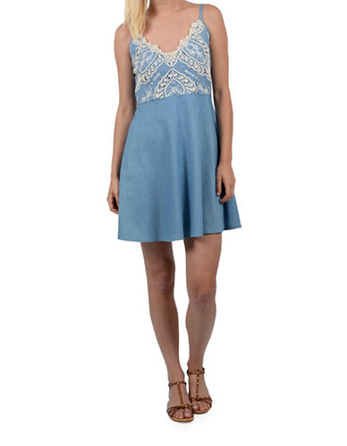 Molly Bracken Embroidered Bodice Dress-BLUE-Large
