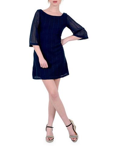 Molly Bracken Three-Quarter Lace Shift Dress-NAVY-Small