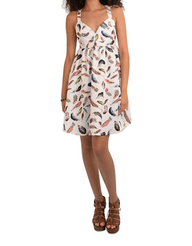 Molly Bracken Paloma Feather Print Fit-and-Flare Dress-OFF WHITE MULTI-Small