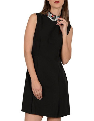 Molly Bracken Victoria Embellished Fit-And-Flare Dress-BLACK-Medium
