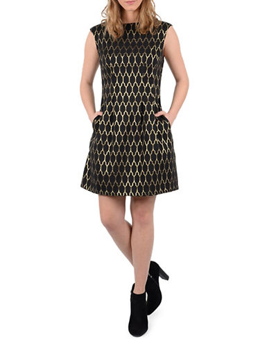 Molly Bracken Cecilia Tile Print Fit-And-Flare Dress-GOLD/BLACK-X-Small