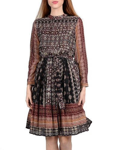 Molly Bracken Willow Pleated Skirt Print Fit-and-Flare Dress-RED MULTI-Small/Medium