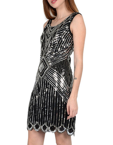 Molly Bracken Gatsby Sequined Sheath Dress-BLACK/SILVER-Large