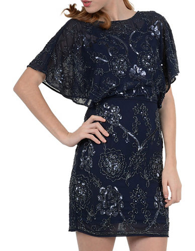 Molly Bracken Sequin Beaded Butterfly Sleeve Dress-NAVY-Medium