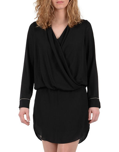 Molly Bracken Long Sleeve Wrap Blouson Dress-BLACK-Large