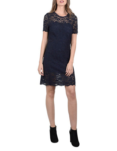 Molly Bracken Short Sleeve Lace Midi Dress-NAVY-X-Small