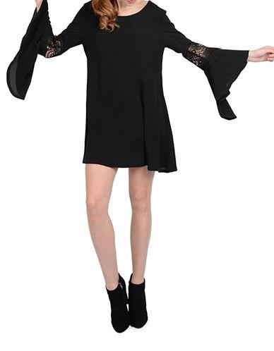 Molly Bracken Autumn Bell Sleeve Shift Dress-BLACK-Small