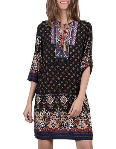 Molly Bracken Three-Quarter Printed Shift Dress-BLACK-X-Small