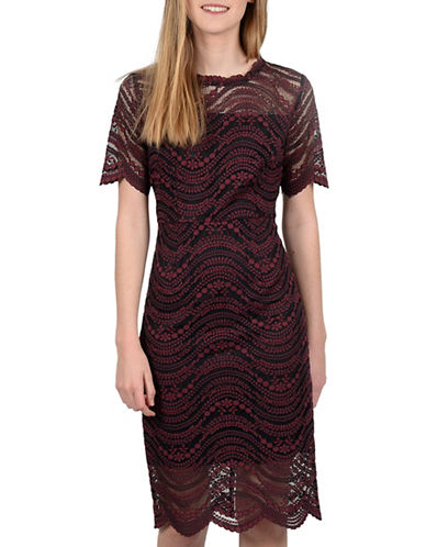 Molly Bracken Magnolia Lace Sheath Dress-RED-Small