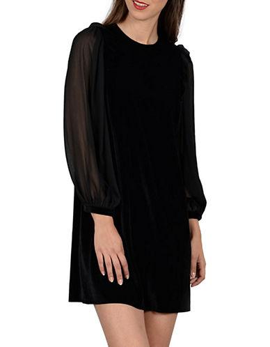 Molly Bracken Celeste Velvet Shift Dress-BLACK-Medium