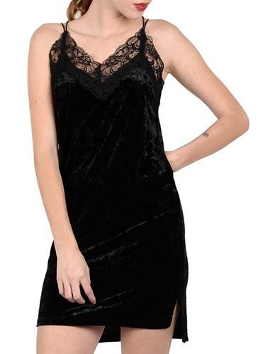 Molly Bracken Abby Velvet Slip Dress-BLACK-Medium