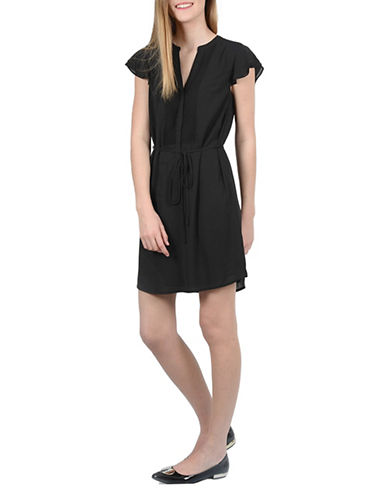 Molly Bracken Flutter Sleeve Dress-BLACK-Medium