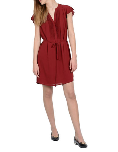 Molly Bracken Flutter Sleeve Dress-RED-Medium