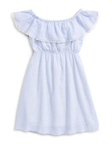 Mini Molly Striped Pom-Pom Dress-BLUE-12-14