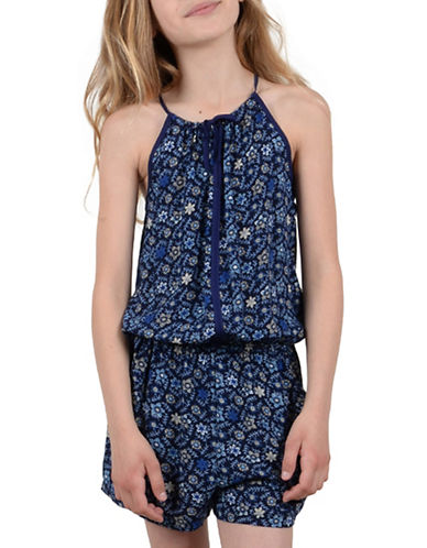 Mini Molly Sleeveless Floral Romper-NAVY BLUE-9-10