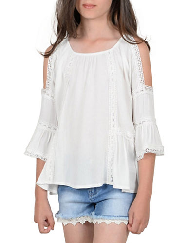 Mini Molly Cold-Shoulder Bell-Sleeve Top-WHITE-9-10